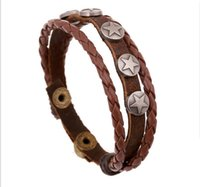 Cheap 2016 New Braslet Men Leather Braided Bracelet Sister Brother Bracelets Cheap Items Female Star Wood Beads Jewelry LB045
