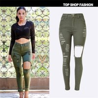 Wholesale 2016 hot sale personality Europe popular Full Article tore Waist Slim Elasticity Denim pants feet ArmyGreen Hole jeans for women