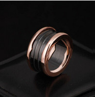 Wholesale Titanium wide circular edge of black and white ceramic ring Titanium ceramic ring