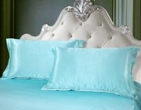 aqua blue comforter sets - MIFE Solid Series Bedding Silk like Aqua Blue Printing Bedding Set Bed Sheet Duvet Cover Pillowcases King Size