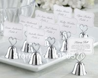 Wholesale Factory sale Wedding favor of Silver color or Golden color quot Kissing Bell quot Place Card Photo Holder