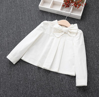 big girls blouse - 2016 Baby Kids Clothing Fashion Children Blouses Girls Big Bowknot Pleatd Shirts Girl White Cotton Tops Girl Kids Long Sleeved Shirts