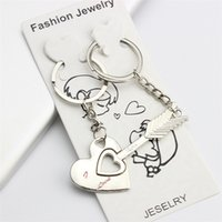 Wholesale New Pair Alloy Keychain Cupid Arrow Couple Key Chain Lovers Pendant Key Ring Key Chain For Lovers jy843
