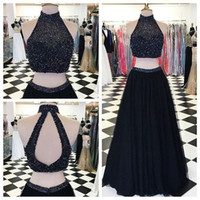 beaded tops for women - Sexy Black Two Pieces Long Prom Dresses Heavy Beaded Top Tulle Skirt Backless Evening Party Gown For Women Girls Formal
