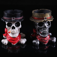 Wholesale Ashtrays For Home Room Resin Skull Creative Ashtray Black and Wihite