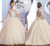 Wholesale 2016 Sheer Neck Beaded Tulle Luxurious Arabic Flower Girls Dresses Vintage Child Pageant Dresses Beautiful Flower Girl Wedding Dresses F29