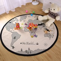 autumn color map - Baby Round game blanket Kids World Map Print Cotton Swaddling Infant Room Decoration play Adventures Crawling Sleeping Carpet for Bedding