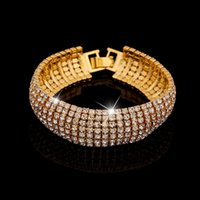 Wholesale Women Luxury Rhinestone Charms Bracelets Fashion Charm Daisies Bracelet Luxury Crystal Bangle Wedding Statement Jewelry Gifts