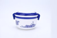 bento box design - blue and white porcelain style double layered structure design bento lunch box giving small spoon food grade pp ECO friendly ml rounded