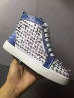 Cheap Hot Sale White  Blue Genuine Leather High Top Shoes 2016 Fashion Multi Silver Rivets Spikes Women  Men Red Bottom Sneakers Casual Shoes