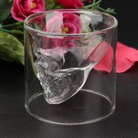 Wholesale 1Pcs Enjoyable ML Crystal Skull Head Bone Vodka Whiskey Glass Beer Drink Drinking Bottle Decanter Cup Home Bar Party Barware
