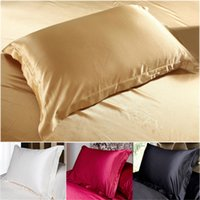 Wholesale Multiple Colors Silk Pillow Cases Double Face Envelope Silk Pillowcase High Quality Charmeuse Silk Satin Pillow Cover