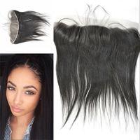 Cheap Silk Base Frontal Closure With Hidden Knots Straight Malaysian Human Hair 13*4 Silk Frontal With Baby Hair DHL Free