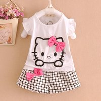 Wholesale Hot Sale Children Fashion Cotton Cartoon Suits Baby Girls KT Bowknot Sets Short Sleeve T shirt Plaid Shorts Kids Clothes Sets