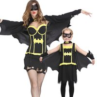 Wholesale Fall Winter Mother and Daughter Clothes Halloween Batman Superhero Cosplay Family Look Costumes Dress Patch Cloak Family Matching Outfits