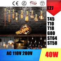 Wholesale Vintage Thomas Edison Incandescent Light Bulbs T45 G80 ST64 ST58 T10 T185 Tungsten Filament Amber Clear Glass W V V E27