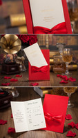 Wholesale Wedding Invitations Card Printable Inner Sheets Wedding Invitations Sets Envelope Wedding Cards Bowknot two colour red and white