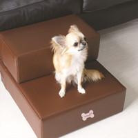 al por mayor escaleras de mascotas-Pu cuero cama del perro mascota pasos Escaleras para los pasos estera perro pequeño perro mascota plegable rampa con 2-pasos con cubierta desmontable de productos para mascotas
