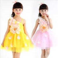 Wholesale Kids Dance Dress Clothes Flower Cute Girls Dance Skirt Dress Child Girls Kid Latin Dress Clothes Girls Latin Dance Costumes