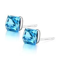 aquamarine hoop earrings - Fashion Nice Jewelry Charm Large Aquamarine Purple Austria Crystal Stud Earrings For Women Popular Sterling Silver Heart Accessories