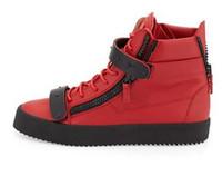 achat en gros de chaussures à fermeture éclair pour les hommes-tailles 35-47 Nouveaux hommes de créateurs de la marque italienne baskets femmes chaussures de sport à lacets en cuir véritable haute tops marron à double décoratifs à glissière