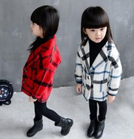 Wholesale 2016 children Plaid wool coat Autumn winter thicken princess coat Fashion years old baby girl new style lapel clothes