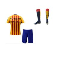 Wholesale 2015 Football Jerseys Hot Soccer Uniforms Messi yellow away Full Sets Football Shirts Shorts Socks Good Quality Camisetas De Futbol