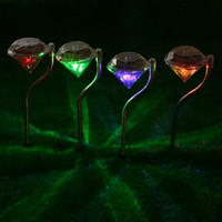 Wholesale 4 Pieces A Set RBG Color Changing Diamonds Lawn Light Solar Power Lawn Lamp with Stake for Pathway Garden Yard Ground