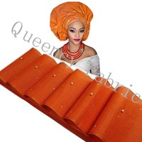 Wholesale Unique Aso Oke with beads stones headtie African Gele Ipele Head Tie Wrapper one piece17 meter