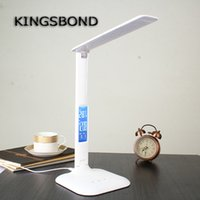 art deco chrome table lamp - Dimmable Table Lamp with LED display Desk Lamp Eye Protection Portable LED reading lamp With Calendar Alarm Colck