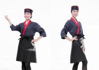 Wholesale Japanese style hotel kitchen overalls and Korea Japanese cuisine restaurant waiter uniform embroidery