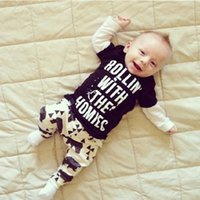 baby vest pattern - Popular Spring Autumn Baby Boys Clothes Set Long Sleeves Letter Pattern Children Clothing Suits Printed Shirts Pants VJ0166 salebags