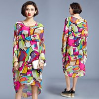 Wholesale Star with chiffon long sleeved dress abstract graffiti loose big plus size spring long sleeve Casual leisure comfortable FREE breathable