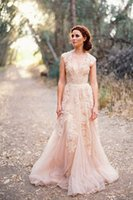 latest bridal wedding gowns - 2016 Cheap Vintage A Line Reem Acra Latest Blush Wedding Bridal Dress Gown Deep V Cap Sleeves Pink Lace Applique Tulle Sheer Wedding Dresses