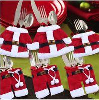 Wholesale Kitchen Cutlery Suit Silverware Holders Pockets Knifes Folks Bag Snowman Shaped Christmas Santa Claus Party Decoration Supplies CT04