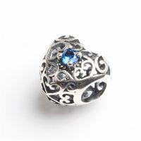 Wholesale 100 Sterling Silver Beads Jewelry Hot Sale Big Hole Heart Shape Love Charms for European Snake Chain Bracelets Pandora Bracelet