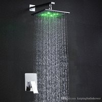 Wholesale 8 inches led light shower set rainfall RGB color change water shower mixers