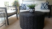 Wholesale Oriental Furniture Rush Grass Coffee Table Ottoman Natural