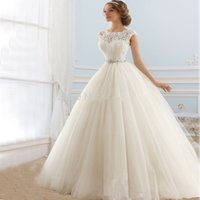 beautiful wedding gown brand - Naviblue Brand Elegant Bridal Gowns Open Back Tulle Lace Sheer neck Beautiful Cheap Custom Vestido De Noiva Wedding Dresses