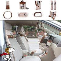 automotive wheels - 10pcs unit Auto Accessories Snoopy Brown Cartoon Car Upholstery Steering wheel cover pillow car covers Universal Automotive interior