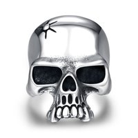 Wholesale 2016 halloween festival Stainless steel Bohemian Punk jewelry in men s gift of men s skull head rings jewelry for mens size