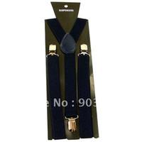 Wholesale Women s Skinny Suspenders Men s Slim Braces Adjustable Adult Unisex Clip on Navy Blue BD811