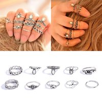 Cheap Retro 10Pcs Set Silver Gold Plated Boho Arrow Moon Midi Finger Knuckle Rings Women Best Gifts Fit Party