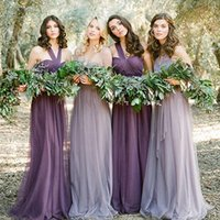 Cheap Cheap Bridesmaid Dresses Under 50 A-line Tulle Convertible Wedding Guest Dresses Purple Maid Of Honor Ruffle Wedding Prom Dresses JE-012