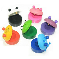 Wholesale Animal Zoo Musical Percussion new frog Pig tiger Instrument Wooden Colorful Castanet Baby Educational Toys