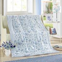 Wholesale blue cute floral pattern summer quilt air condition cm cm size bedding Blanket Plaids