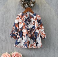 Wholesale halloween Girls Autumn Long Sleeve Linen Princess Dresses with Bag Children European Fashion Pretty Floral Printed Dresses