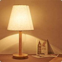 Wholesale New Fashion Nordic Fabric Art Wooden Bedside Lamp Contemporary Contracted Linen Cloth Art Bedroom Wooden Table Lamp