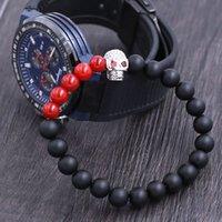 agate skull crystal - Red eye crystal diamonds skull bracelet onyx bead with red stone bead bracelet