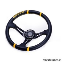 Wholesale Tansky NEW Universal mm Car Auto Racing Steering Wheel PU Horn Button Auto Yellow TK FXP01MO P